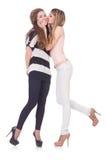 Twee vrouwelijke geïsoleerde vrienden Royalty-vrije Stock Afbeeldingen