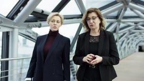 Twee vrouwelijke onderneemsters lopen en bespreken zaken Zij allen werken in centraal bedrijfsdistrict Zij zijn stock video