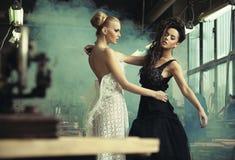 Twee vrouwelijke schoonheden royalty-vrije stock afbeelding