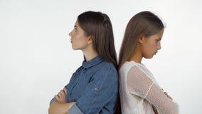 Twee vrouwelijke vrienden die het rijtjes boos kijken bevinden zich na het hebben van een strijd stock video