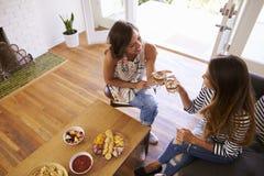 Twee Vrouwelijke Vrienden die samen thuis socialiseren stock afbeeldingen