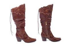 Twee vrouwen bruine laarzen Royalty-vrije Stock Foto's