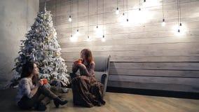 Twee vrouwen die in comfortabele atmosfeer het drinken van thee op Kerstavond zitten stock videobeelden