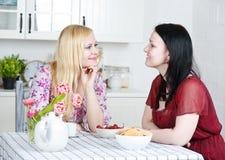 Twee vrouwen die in de keuken spreken Royalty-vrije Stock Fotografie