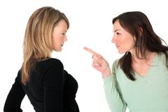 Twee vrouwen die een strijd hebben Stock Foto's