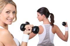 Vrouwen die gewichten samen opheffen stock afbeelding