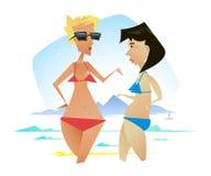 Twee vrouwen die op het strand rusten Stock Afbeelding