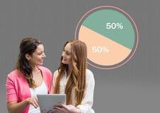 Twee vrouwen die tablet met kleurrijke grafiekstatistieken houden bij 50 percenten half stock afbeelding
