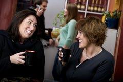 Twee vrouwen in een koffie huisvesten stock afbeelding