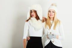 Twee vrouwen met de winterkleren Royalty-vrije Stock Afbeeldingen
