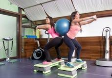 Twee vrouwen oefenen de ruggen van de stabiliteitsbal uit Stock Fotografie
