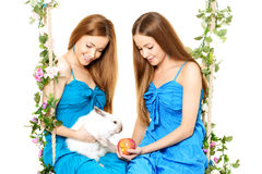 Twee vrouwen op een schommeling op witte achtergrond Stock Afbeeldingen