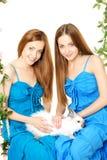 Twee vrouwen op een schommeling op witte achtergrond Stock Foto's