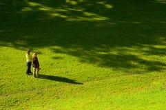 Twee vrouwen op het gras Stock Foto's