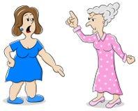 Twee vrouwen zijn van verschillende mening Stock Afbeeldingen