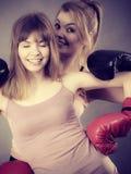 Twee vrouwenvrienden die bokshandschoenen dragen royalty-vrije stock afbeelding