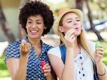 Twee vrouwenvrienden in park Stock Afbeelding