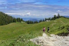 Twee wandelaars die in de bergen lopen Stock Foto's