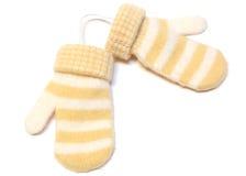 Twee warme vuisthandschoenen van de de winterwol. Stock Afbeeldingen