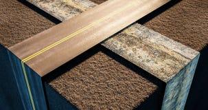 Twee wegen die in een abstracte vervoers 3d illustratie kruisen Stock Foto