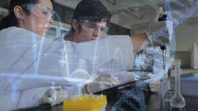 Twee wetenschappers die onderzoek naar een laboratorium leiden stock footage