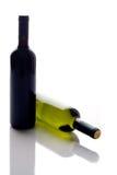 Twee wijnflessen Stock Afbeeldingen