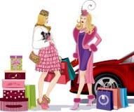 Twee winkelende meisjes Stock Afbeeldingen