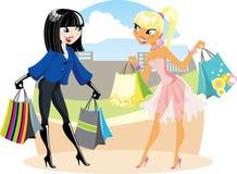 Twee winkelende meisjes Stock Afbeelding