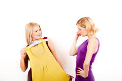 Twee winkelende meisjes met kleding Royalty-vrije Stock Afbeeldingen