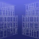 Twee wireframe teruggegeven gebouwen royalty-vrije illustratie