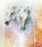 Twee witte paardgeesten, mooi gedetailleerd olieverfschilderij op canvas Stock Foto