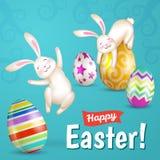 Twee witte vrolijke Pasen-konijntjes Royalty-vrije Stock Afbeelding