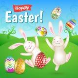 Twee witte vrolijke Pasen-konijntjes in de weide Royalty-vrije Stock Foto