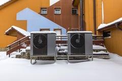 Twee woon moderne warmtepompen stock afbeelding