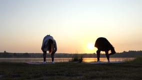 Twee Young Women do Yoga op de Schilderachtige Meerbank bij Zonsondergang stock footage