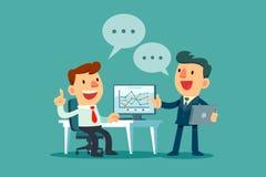 Twee zakenlieden die bedrijfsstrategie bespreken Stock Afbeelding