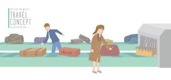 Twee zakenlieden krijgen bagage van de bagagecarrousel Stock Foto
