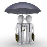 Twee zakenlieden onder één paraplu royalty-vrije illustratie