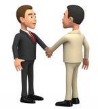 Twee zakenlieden op een witte achtergrond schudden handen Stock Afbeelding