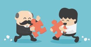 Twee zakenlieden, zakenlieden, oudsten, en jonge zakenlieden die stock illustratie