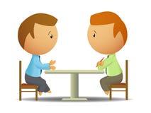 Twee zakenlieden spreken bij de lijst royalty-vrije illustratie