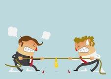 Twee zakenman het vechten in de touwtrekwedstrijdconcurrentie die hun carrières kon enkel bepalen beeldverhaalkarakter in vlak on stock illustratie