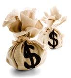 Twee Zakken met het Teken van de Dollar Royalty-vrije Stock Foto