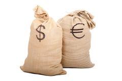 Twee zakkenhoogtepunt van contant geld Stock Afbeelding