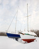 Twee Zeilboten in de Winter Stock Foto