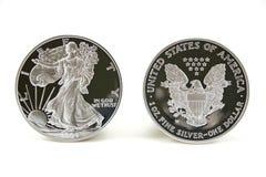 Twee Zilveren Dollars Stock Afbeelding