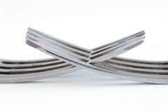 Twee zilveren vorken Royalty-vrije Stock Afbeelding