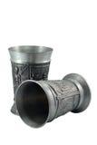Twee zilveren wijndrinkbekers royalty-vrije stock fotografie