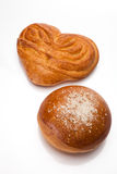 Twee zoete broodjes op wit Royalty-vrije Stock Afbeelding