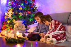 Twee zoete kinderen, jongensbroers, die een boek lezen stock afbeeldingen